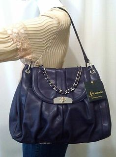NEW B. MAKOWSKY GLOVE LEATHER NORTH/SOUTH FLAP SATCHEL W/CHAIN ACCENT, PURPLE
