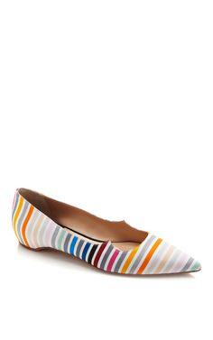 Zoya Rainbow Stripe Skimmers by Tanya Taylor for Preorder on Moda Operandi