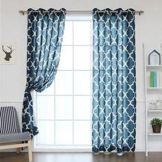 Aurora Home Moroccan Print Flax Linen Blend Grommet Top Curtain Panel (Set of 2)
