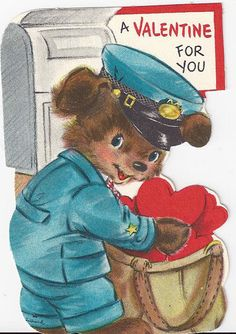 vintage Valentine Bear mail carrier