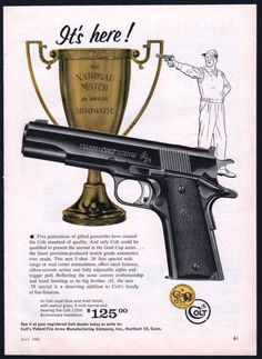 1961 COLT Gold Cup National Match Pistol AD Collectible Gun Advertising #Ruger