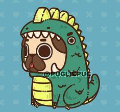 Pug Wallpaper, Cute Wallpaper Backgrounds, Disney Wallpaper, Cute Wallpapers, Pug Kawaii, Cute Kawaii Animals, Cute Animal Drawings, Kawaii Drawings, Cute Drawings