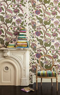 architectural digest wallpaper | The Sinhala Sidewall wallpaper, shown in jewel, is also available in a ...