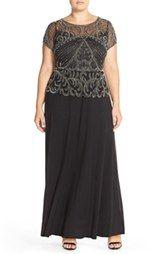 Pisarro Nights Sequin Mesh Gown (Plus Size)
