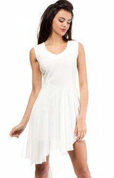 Moe MOE200 sukienka ecru Przepiękna wieczorowa sukienka, z głębokim dekoltem w kształcie litery V, asymetryczny dół z szyfonową warstwą