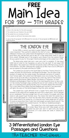 This FREE Main Idea passage will help your students practice finding the main idea using a high-interest passage about a large Ferris wheel called the London Eye. The main idea passage is differentiated into three different reading levels which work well for most third, fourth, or fifth graders. This passage is also included in a very complete Main Idea Kit with games, passages, and more! #3rdgrademainidea #4thgrademainidea #5thgrademainidea #3rdgradereading $4thgradereading #5thgradereading