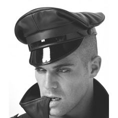 Stern Discipline Leather Military Peaked Cap