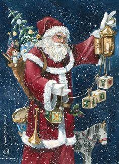 santa-christmas- joy- Sandi Gore Evans Christmas Tree Scent, Christmas Scenes, Father Christmas, Santa Christmas, Christmas Pictures, Christmas And New Year, Evans Art, Thing 1, Winter Art