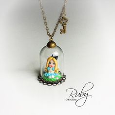 Alice in Wonderland necklace polymer clay by RubyCreationsDesign