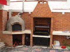 Resultado de imagen para asador con horno de leña Outdoor Kitchen Bars, Pizza Oven Outdoor, Outdoor Kitchen Design, Outdoor Cooking, Fire Pit Grill, Fire Pit Backyard, Bbq Grill, Home Building Design, Home Room Design