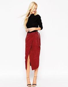 Замшевая юбка-карандаш с поясом оби ASOS