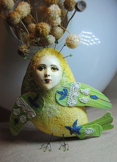 Sirin bird green OOAK Art Doll-pendant interior, Handmade, Papier mache by JuliasArtStore on Etsy