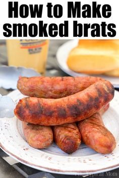 Smoked brats are a delicious lunch or dinner idea you can make in your pellet or. - Smoked brats are a delicious lunch or dinner idea you can make in your pellet or electric smoker th - Traeger Recipes, Smoked Meat Recipes, Grilling Recipes, Sausage Recipes, Grilling Tips, Smoked Beef Brisket, Smoked Pork, Bratwurst Recipes, Venison Recipes