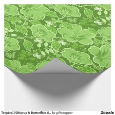 Tropical Hibiscus & Butterflies Shades of Green Wrapping Paper