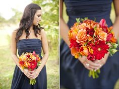 #autumn #fall #wedding ideas & inspiration, beautiful orange and red bouquet against steel blue bridesmaid dress. Lots more autumnal wedding ideas curated by Hip Hip Hooray blog http://www.hiphiphooray.com/blog/post/autumn-wedding-ideas-and-inspiration/