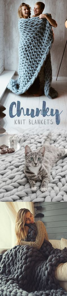 Chunky Knit Blankets - The perfect Christmas gift! ★★★★★ Chunky Knit Blankets - The perfect Christmas gift! Finger Knitting, Arm Knitting, Knitting Patterns, Crochet Patterns, Knitting Projects, Crochet Projects, Sewing Projects, Crochet Stitches, Knit Crochet