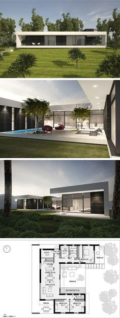 modern vila in Vilnius by NG architects www.lt Interesting floor plan but still like it Modern House Plans, Modern House Design, Modern Floor Plans, One Floor House Plans, Office Floor Plan, Contemporary Architecture, Architecture Design, Contemporary Garden, Contemporary Design