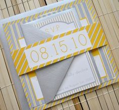 Augusta Wedding Invitation Suite yellow, grey silver white by angie. Love the colors, not in love with the type.  Great paper.