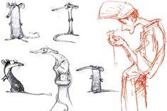 """""""Character design, Remy and Linguine, Ratatouille""""  by Peter de Sève"""