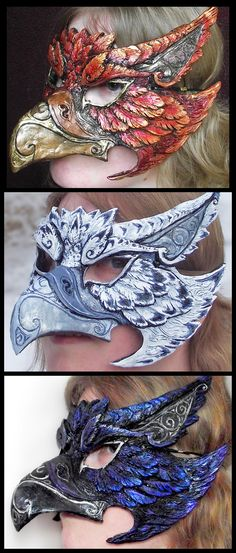 This griffin mask is a molded piece and is created as an order comes in. As such, I can tailor the paint job to your request. It can be based off of a r. Griffin Mask - Any Color Headdress, Headpiece, Larp, Bird Masks, Cool Masks, Leather Mask, Beautiful Mask, Carnival Masks, Venetian Masks