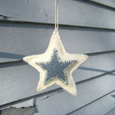 Items similar to White Felted Wool Star Ornament/Decoration with Denim on Etsy Christmas Gift Decorations, Christmas Crafts For Gifts, Felt Christmas, Homemade Christmas, Christmas Ornaments, Christmas Things, Merry Christmas, Denim Crafts, Felt Crafts