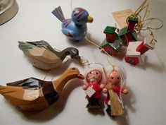 Lot of 8 Wood Christmas Ornaments, Vintage Wood Ornaments, Santa & Mrs. Claus and More by PiccoloPattys on Etsy