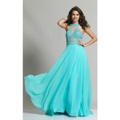 Dave and Johnny 2249 Prom Long Dress Long High Neckline Sleeveless ($391) ❤ liked on Polyvore featuring dresses, gowns, formal dresses, turquoise, blue formal gown, turquoise prom dresses, long formal gowns, high neck prom dresses and formal evening dresses