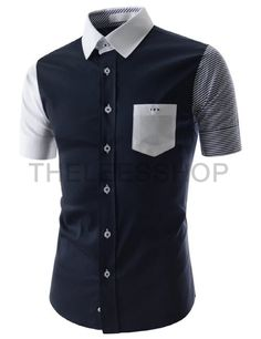 (AL634-NAVY) Mens Slim Fit Two Tone Chest Pocket Short Sleeve Stretchy Woven Shirts