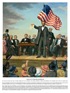 THE GETTYSBURG ADDRESS Poster (Art and Full Text of Speech November 19, 1863) - Abraham Lincoln - available at www.sportsposterwarehouse.com