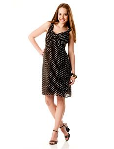 Sleeveless Empire Waist Maternity Dress - brown with white polka dots
