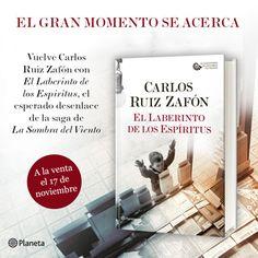 ¡¡LECTORES!! ¡¡GRANDES NOTICIAS!! Ya podéis reservar lo nuevo de Carlos Ruiz Zafón | OFICIAL en este enlace http://www.casadellibro.com/libro-el-laberinto-de-los-espiritus/9788408163381/3102211?utm_source=Facebookinterno&utm_medium=socialAds&utm_campaign=27558 con envío gratis a España Península y Baleares y precio mínimo garatizado.