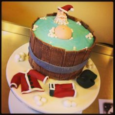 Christmas Cake - Santa in a Hot Tub after a hard day's work :)