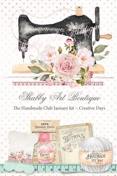 The Handmade Club from Shabby Art Boutique presents January kit Creative Days - available until February 2019 Decoupage Jars, Decoupage Tissue Paper, Decoupage Vintage, Vintage Paper, Decoupage Dresser, Bar Mitzvah Invitations, Party Invitations, Vintage Sewing Machines, Beautiful Handmade Cards