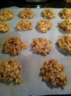 Peanut Butter Oatmeal No Bake Cookies (No Wheat / No Egg)  *good. not a diet thing, my girls like em and I had one and will probably only eat one that's how sweet they are. :)