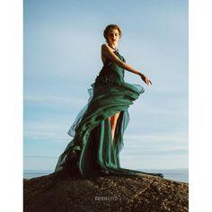 Emerald Green Chiffon High-low Beach Prom Dress Prom Dresses