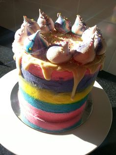 Rainbow unicorn cake :)