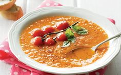 Spicy Tomato Soup ,loaded with veggies and the antioxidant lycopene, you can double the recipe and freeze for quick midweek meal options. Spicy Recipes, Baking Recipes, Soup Recipes, Recipies, South African Recipes, Ethnic Recipes, Soup Starter, Midweek Meals, How To Double A Recipe