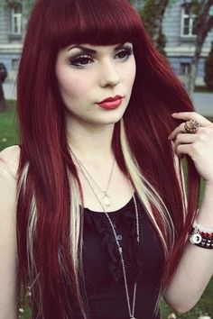 Red hair with blonde underneath. So beautiful, I'm really considering doing this with my hair!