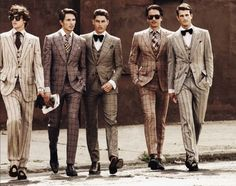 Men: please lose the saggy bottoms and opt for a tailored look: bow ties and waistcoats. Swoon!!