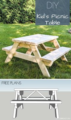 Kids Picnic Table Kids Picnic Table: Plans and a tutorial to build a simple DIY kids picnic table for the backyard or patio. Kids Picnic Table Plans, Diy Picnic Table, Wooden Picnic Tables, Kid Table, Toddler Picnic Table, Kids Outdoor Table, Outdoor Play, Diy Garden Furniture, Furniture Plans