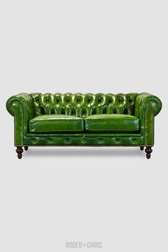 the perfect chesterfield sofa. This company offers the sofa in a variety of different colors, fabric and leather, has the slanted back for comfort, and comes in several sizes. Higgins Chesterfield Sofas and Armchairs Chesterfield Sofas, Leather Chesterfield, Tufted Sofa, Leather Sofas, Sofa Green, Green Leather Sofa, Tan Leather, Custom Leather, Leather Fabric