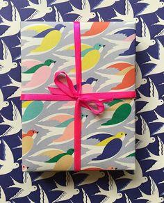 Bird print designs by Elvira Van Bredenbury #conversational #pattern #giftwrap