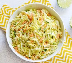 Fresh lime juice and earthy cumin give this Cumin Lime Coleslaw a light, fresh, and summery flavor. Perfect for summer BBQ or any southwest inspired meal. Vegetarian Cabbage, Vegetarian Recipes, Cooking Recipes, Healthy Recipes, Delicious Recipes, Side Dish Recipes, Side Dishes, Dinner Recipes, Tostadas