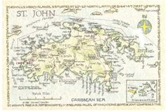 st john map usvi historical chart 1948 caribbean virgin islands and central america