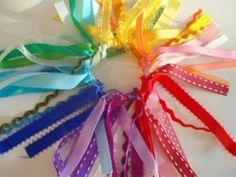 Rainbow Ribbon Hair Band - 30 ribbons cut inches long, tied onto a hair elastic Ribbon Hair Ties, Hair Ribbons, Diy Hair Bows, Diy Ribbon, Diy Bow, Ribbon Bows, Rainbow Ribbon, Rainbow Hair, Rainbow Colors