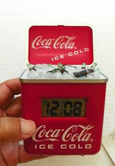 "1996 ""COCA-COLA"" RETRO COOLER ALARM CLOCK - MIB * MARKETED BY ADVANCE CLOCK CO."
