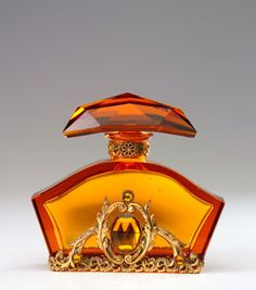 CZECHOSLOVAKIAN Perfume bottle in amber crystal and jeweled metalwork, 1920's
