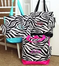 Have some fun with our wild zebra-print tote bags! Featuring your choice of hot pink, teal or black handles and bases surrounding a. Gifts For Wedding Party, Party Gifts, Wedding Ideas, Wedding Stuff, Wedding Favors, Bridal Gifts, Wedding Things, Wedding Bells, Wedding Decor