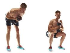 Dumbbell good morning to front squat We're kicking off with your legs and back: your bodys biggest calorie burners. Hold a dumbbell as shown and bend at the hips; hold for Return then immediately squat; Too hard? Squat onto a bench. Too easy Dumbbell Workout At Home, Squat Workout, At Home Workouts, Workout Routines, Workout Men, Workout Plans, Muscle Fitness, Mens Fitness, Health Fitness