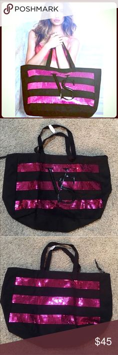 FLASH SALE✨Victoria's Secret Large Sequin Tote ✨Gorgeous & Glamorous✨Victoria's Secret Sequin Beautiful Extra Large Size Tote✨With VS Signature Silver Zipper✨✨ Simply Stunning!✨ Victoria's Secret Bags Totes